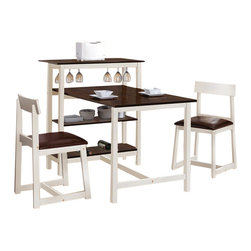 """Acme - 3-Piece Halle Collection White and Espresso Finish Counter Height Dinette Set - 3-Piece Halle collection white and espresso finish wood counter height bar and dinette table set with vinyl seats. This set includes the table and end bar unit with 2 - side chairs with padded seats (matching taller bar chairs available separately). Table measures 35"""" x 53"""" x 40"""" H. Side chairs measure 31"""" H to the back. Some assembly required."""