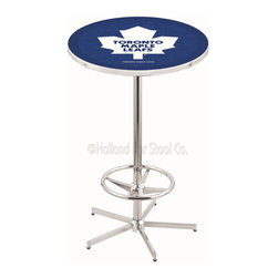Holland Bar Stool - Holland Bar Stool L216 - 42 Inch Chrome Toronto Maple Leafs Pub Table - L216 - 42 Inch Chrome Toronto Maple Leafs Pub Table  belongs to NHL Collection by Holland Bar Stool Made for the ultimate sports fan, impress your buddies with this knockout from Holland Bar Stool. This L216 Toronto Maple Leafs table with retro inspried base provides a quality piece to for your Man Cave. You can't find a higher quality logo table on the market. The plating grade steel used to build the frame ensures it will withstand the abuse of the rowdiest of friends for years to come. The structure is triple chrome plated to ensure a rich, sleek, long lasting finish. If you're finishing your bar or game room, do it right with a table from Holland Bar Stool.  Pub Table (1)