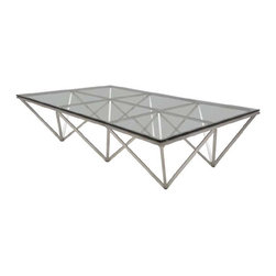 "Nuevo Living - Large Rectangle Origami Coffee Table in Stainless Steel by Nuevo - HGTA721 - The Large Origami Coffee Table by Nuevo is a perfectly balanced coffee table with angles and straight lines that look like it was created by a great origami master in Japan. The angular shaped base made of brushed stainless steel and it is topped off with thick 12mm tempered glass.  At 4.5ft x 3ft the Origami Large Rectangular Modern Coffee Table is a good size for home or office.  The Origami occasional table is also available in a smaller 48"" x 24"" version as well as 2 square sizes.  The Origami series of Coffee Tables is a attractive item."