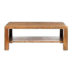 Safavieh - Safavieh Lahoma Coffee Table X-A2456HMA - The Lahoma coffee table's rustic-chic natural Fir Wood grain lends a casual California vibe to country, modern or urban settings. Straight-edged Parson's lines and Honey oak finish make this piece super adaptable and versatile, with added bottom shelf for reading materials or collectibles.