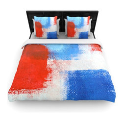 "Kess InHouse - CarolLynn Tice ""The Colors"" Red Blue Cotton Duvet Cover (Twin, 68"" x 88"") - Rest in comfort among this artistically inclined cotton blend duvet cover. This duvet cover is as light as a feather! You will be sure to be the envy of all of your guests with this aesthetically pleasing duvet. We highly recommend washing this as many times as you like as this material will not fade or lose comfort. Cotton blended, this duvet cover is not only beautiful and artistic but can be used year round with a duvet insert! Add our cotton shams to make your bed complete and looking stylish and artistic!"