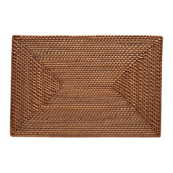 "Kouboo - Rectangular Rattan Placemat Set of 2, Honey Brown - This hand-woven rattan placemat is done ""Hapao style,"" meaning a tight, intricate weave initially created in the Philippines to ensure durability and beautiful longevity. Finished with a coating of clear lacquer for easy clean-up, this rectangular rattan placement is a beautiful addition to your table for family and guests alike."