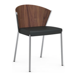 Calligaris - MYA Chair, Black Seat, Walnut Back - The dining room of your dreams just got a little dreamier. With its swooping walnut back, soft black seat and sleek chrome legs, this gorgeous chair adds eye-catching elegance and luxurious comfort (plus plenty of compliments) to any space.