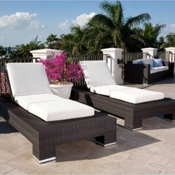 Source Outdoor King All-Weather Wicker Chaise Lounge - Set of 2 - Indulge your love of contemporary furniture with the Source Outdoor King All-Weather Wicker Chaise Lounge - Set of 2 . Ideal for lounging outdoors with a friend or loved one, you'll love surrounding yourself in sophisticated comfort and beauty. Crafted from weather and UV resistant hand-woven resin wicker placed over a fully welded aluminum frame, these strong and durable chaise lounge chairs arrive at your door fully assembled. Top-quality and extremely comfortable Sunbrella cushions in your choice of color lets you add your own unique touch to these chaise lounge chairs and shows off your flair for color. Enjoy spending countless hours outdoors this summer under the sun with cold drink and good friend.About Sunbrella Sunbrella has been the leader in performance fabrics for over 45 years. Impeccable quality, sophisticated styling and best-in-class warranties prove the new generation of Sunbrella offers more possibilities than ever. Sunbrella fabrics are breathable and water-repellant. If kept dry, they will not support the growth of mildew as natural fibers will. Beautiful and durable, Sunbrella is a name you can trust in your outdoor furniture.Cleaning and Caring for Sunbrella Regular maintenance is the best way to keep your Sunbrella fabrics looking good and delay deep, vigorous cleaning. Brush off dirt before it becomes embedded in the fabrics, and wipe up spills as soon as they occur. For light cleaning, use a mild soap and water solution and a sponge, allowing your cleaning solution to soak into the fabric. Rinse thoroughly to remove all soap residue and allow fabric to air dry.About Source Outdoor Committed to providing quality outdoor furniture to its customers all over North America, Source Outdoor showcases the latest styles in outdoor synthetic wicker. Operating out of a 60,000 sq. ft. warehouse, Source Outdoor manufactures outdoor resin wicker furniture to hospitality-grade standards and t