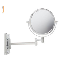 Jerdon JP7508C 6-Inch Two-Sided Swivel Wall Mount Mirror with 5x Magnification - The Jerdon JP7508C 6-Inch Two-Sided Swivel Wall Mount Mirror is used in luxury hotels and spas because of its convenience, sleek look and magnification. This two-sided circular mirror has a 6-inch diameter and features a smooth 360-degree swivel design that provides 1x and 5x magnification options to make sure every detail of your hair and makeup are in place. The extension arm and smooth rotation adjusts to all angles for a dynamic point of view. The JP7508C extends 10-inches from the wall and can be easily moved around, while still being firm enough to hold for odd angles. This mirror has an attractive chrome finish that protects against moisture and condensation and is designed to be wall mounted. This item comes complete with mounting hardware. The Jerdon JP7508C 6-Inch Two-Sided Swivel Wall Mount Mirror comes with a 1-year limited warranty that protects against any defects due to faulty material or workmanship. The Jerdon Style company has earned a reputation for excellence in the beauty industry with its broad range of quality cosmetic mirrors (including vanity, lighted and wall mount mirrors), hair dryers and other styling appliances. Since 1977, the Jerdon brand has been a leading provider to the finest homes, hotels, resorts, cruise ships and spas worldwide. The company continues to build its position in the market by both improving its existing line with the latest technology, developing new products and expanding its offerings to meet the growing needs of its customers.
