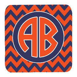 Caroline's Treasures - Chevron for Auburn Personalized Initial Foam Coasters, Set of 4 - Foam Coaster - 3 1/2 inches by 3 1/2 inches. Permanently dyed and fade resistant. Great to keep water from your beverage off your table and add a bit of flair to a gatering.  Match with one of the insulated coolers or huggers for a nice gift pack.  Wash the coaster in the top of your dishwasher.  Design will not come off.  Made from our mouse pad material and is heat resistant.