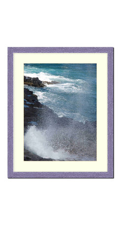 """Frames By Mail - Wall Picture Frame Hammered Purple pearlized finish with a white acid-free matte - This 20X24 hammered purple pearlized finish picture frame is 1"""" wide and has a white matte, for a 16X20 picture, can be removed to accommodate a larger picture.  The frame includes regular plexi-glass (.098 thickness) foam core backing and can hang either horizontal or vertical."""