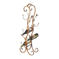 MIDWEST CBK - Antique Gold 5 Bottle Wine Holder with Leaves - Antique Gold 5 Bottle Wine Holder with Leaves. Shop home furnishings, decor, and accessories from Posh Urban Furnishings. Beautiful, stylish furniture and decor that will brighten your home instantly. Shop modern, traditional, vintage, and world designs.