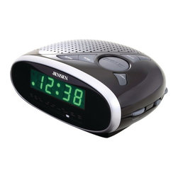 """Jensen Products - AM/FM Alarm Clock Radio - .6"""" green LED display. AM/FM receiver. Users can wake to radio or alarm. Sleep. Snooze. Power: 120V AC/60 Hz. Requires 9V battery for back up. Dim: 2.75""""H x 6.13""""W x 5""""DKeep yourself on schedule with this Alarm Clock Radio. You can choose to wake to the AM/FM radio or the programmed alarm tone. It features sleep and snooze modes and .6"""" green LED display."""
