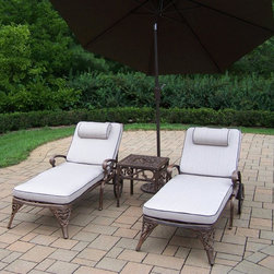 Oakland Living - 4-Pc Outdoor Chaise Lounge Set - Includes two chaise lounge with cushion, side table and 9 ft. tilting umbrella with stand. Metal hardware. Lightweight. Fade, chip and crack resistant. Warranty: One year limited. Made from rust free cast aluminum. Antique bronze hardened powder coat finish. Minimal assembly required. End table: 17.5 in. W x 17.5 in. D x 19 in. H (15 lbs.). Chaise: 71 in. W x 25.5 in. D x 35 in. H (68 lbs.). Overall weight: 226 lbs.This Chaise lounger set will be a beautiful addition to your patio, balcony or outdoor entertainment area. Our Chaise lounger sets are perfect for any small space, or to accent a larger space. We recommend that the products be covered to protect them when not in use. To preserve the beauty and finish of the metal products, we recommend applying an epoxy clear coat once a year. However, because of the nature of iron it will eventually rust when exposed to the elements. The Oakland Elite Collection combines old world charm and modern designs giving you a rich addition to any outdoor setting. The traditional lattice pattern is crisp and stylish. Each piece is hand cast and finished for the highest quality possible.