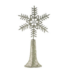 Beaded Snowflake Tree Topper - Let it snow! This opulent tree topper has glamour to spare. Beautifully hand beaded in India, it features a classic snowflake and sparkling tapered base. A perfect match for the most elegant of trees.