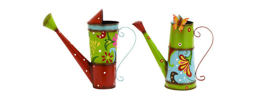 Benzara - Bright And Colorful Watering Cans - Choose from two sizes of bright and colorful watering cans with metal alloy. Or, better yet get both to spread around your garden. Clearly meant as a decoration for the outside or the kitchen window, it should be noted that these adorable cans are as functional as they are colorful. With fun flowering patterns and butterflies, these are great pieces to place in the sunlight.
