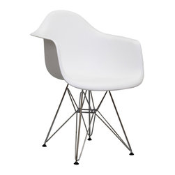 "LexMod - Paris Wire Armchair in White - Wire Paris Armchairs are crafted out of molded plastic for the seat and a chromed steel wire ""pyramid"" base. Comfortable and versatile, this chair can be used to decorate any space."