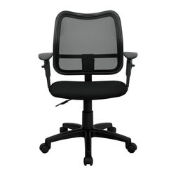 Flash Furniture - Mid-Back Mesh Task Chair with Black Fabric Seat and Arms - If you're in need of a comfortable chair with a breathable mesh back this is the chair. The modern design of the back will add a contemporary look to your office space. This chair is height adjustable to adapt to your working environment and the height adjustable arms allow you to adjust to your comfort level.