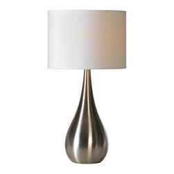 Ren-Wil - Alba 26-Inch Table Lamp - This contemporary table lamp has a white, linen, drum shade with 1/2in. trim. It has an stainless steal finished tear drop body. This lamp has a European shade with a tri-light socket and a clear chord.