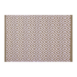 """Pine Cone Hill - PCH Diamond Khaki Indoor/Outdoor Placemat Set of 4 - Discover casual table linens with high style in the Diamond Indoor/Outdoor placemats from PCH. Ideal for layering with other colors and patterns, their mod geometric print in a neutral khaki and white lends a sophisticated look to any meal. 14"""" x 20""""; Set of 4; 100% polypropylene; Designed by Pine Cone Hill, an Annie Selke company; Machine wash cold, tumble dry low; Do not bleach"""