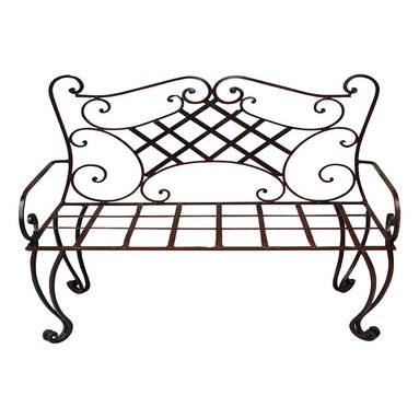 Heather Fields Home & Garden - New Orleans Iron Bench - Wrought iron bench is the perfect addition to any: front porch, back yard or entry way. This is a wrought iron bench with a polyurethane clear finish that will need a simple spray of clear paint found at any hardware store every few years depending on your weather. Bench does not come with a cushion but can be ordered through any local upholsterer. Decorative pillows are the most popular choice to personalize this beautiful bench!