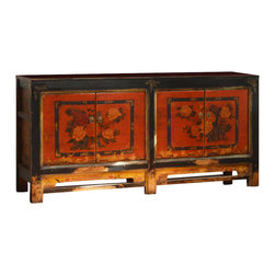 "China Furniture and Arts - Hand-Painted 4-Door Mongolian Cabinet - Sporting a classy weathered look, this unique cabinet's doors display a gorgeous red and orange flower arrangement on a bold orange background, painted by hand and aged to perfection. In contrast, the distressed black frame provides added personality. Two spacious double-door compartments measuring 33.5""W x 13.5""D x 23""H each provide ample storage space and contain a removable shelf for your convenience. Perfect as a sideboard in the dining room or a media cabinet in the living room . Completely hand-constructed of solid Elmwood. Fully assembled. (Displayed accessories are not included)."
