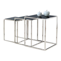 """Armen Living - Quadra Nesting Tables In Stainless Steel With Glass Tops - Each time you place your glass of ice tea down on one of these stackable square nesting tables you will be reminded of its striking yet modern elegance that can accompany a wide variety of d cor. Made of stainless steel and tempered glass.  Big table: 17.75""""W x 17.75""""D x 21.5""""H, Small: 16.25""""W x 16.25""""D x 19.5""""H, xSmall: 14.5""""W x 14.5""""D x 17.5""""H"""