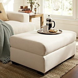 """Hampton Upholstered Ottoman, Polyester Wrap Cushions, Washed Linen-Cotton Lagoon - Our furniture makers attend to every detail of comfort and quality when building this collection. Crafted by our own master upholsters in North Carolina, the ottoman is expertly built for superb comfort. 36"""" w x 25"""" d x 19"""" h {{link path='pages/popups/PB-FG-Hampton-3.html' class='popup' width='720' height='800'}}View the dimension diagram for more information{{/link}}. {{link path='pages/popups/PB-FG-Hampton-5.html' class='popup' width='720' height='800'}}The fit & measuring guide should be read prior to placing your order{{/link}}. Ottoman has a polyester wrapped cushion. Proudly made in America, {{link path='/stylehouse/videos/videos/pbq_v36_rel.html?cm_sp=Video_PIP-_-PBQUALITY-_-SUTTER_STREET' class='popup' width='950' height='300'}}view video{{/link}}. For shipping and return information, click on the shipping info tab. When making your selection, see the Special Order fabrics below. {{link path='pages/popups/PB-FG-Hampton-6.html' class='popup' width='720' height='800'}} Additional fabrics not shown below can be seen here{{/link}}. Please call 1.888.779.5176 to place your order for these additional fabrics."""