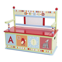Levels of Discovery - Alphabet Soup Storage Bench - A is for awesome when it comes to this storage bench. It doubles as a comfy seat, has a slow-closing safety hing and boasts a backrest with spinning blocks and a wipe-off board to practice writing the alphabet (with washable markers).   32'' W x 28'' H x 13'' D Weight capacity: 100 lbs. Wood / medium-density fiberboard Assembly required Imported