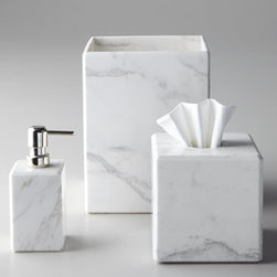 Marble Vanity Accessories - Marble accessories like these chic white ones can enhance your dressing space and make it feel very luxe and indulgent.