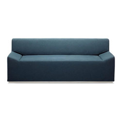 "Blu Dot - ""Blu Dot Couchoid Studio Sofa, Ocean"" - ""No fooling around here. Beautifully simple shapes with a chrome-plated base. Couchoid. It's guaranteed to be more aerodynamic than your old couch. Available in dark brown, white or slate leather alternative and ocean upholstery."""