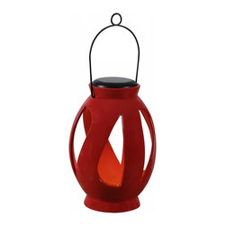 Kenroy Home - Kenroy Home Leaves Solar Lantern, Black - 60525RED - A great outdoor decor accent by day and an instant table top or hanging light source by night. These lanterns feature a removable circular solar disc which when placed in optimal sun location will constantly store a charge to the included NiMH internal battery and provide hours of nighttime lighting for those relaxing evenings on your patio or deck. Includes powder coated wire handle for hanging. Black Finish