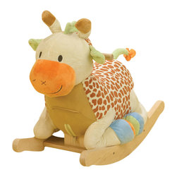 Rockabye - Rockabye Raffi Giraffe Rocker - Raffi the giraffe complements the popular safari theme for baby's nursery. Her long legs are tucked under her body to give baby the most comfortable safe and smooth rocking action. Tactile beads are in Raffi hoofs and crinkle in her mane and her ears give baby more surprises. Her sweet face is sure to warm baby's heart. This wonderful heirloom quality rocker now comes with an educational component. Located on the back of the head baby will find 4 shaped buttons that activate original songs that teach ABC's, 123's, colors, shapes and more. Sure to please baby as well as mom and dad!