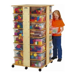 32 Cubbie Tower - Keep shoes toys or just about anything organized in the Cubbie Tower. This four-section tower has eight cubbies per section and holds a total of 32 storage tubs. It's mounted on casters for easy mobility and is durably built so it'll stand up to years of use. About Jonti-CraftFamily-owned and operated out of Wabasso Minn. Jonti-Craft is a leading provider of quality furniture for the early learning market. They offer a wide selection of creatively designed products in both wood and laminate materials. Their products are packed with features that make them safe functional and affordable. Jonti-Craft products are built using the strongest construction techniques available to ensure that your furniture purchase will last a lifetime.