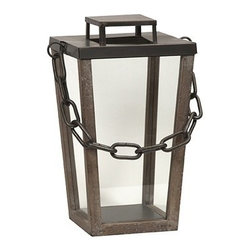 "IMAX - Leonard Industrial Lantern - Small - Modern lines and a simple chain handle give the Leonard Industrial lantern an austere presence, adding a subtle ambiance when lit. Item Dimensions: (28.75""h x 10""w x 12.75"")"