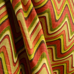 Waverly - Waverly Fabric Sand Art Cayenne Zig Zag Orange Red Fabric By The Yard - Chevron print Sand Art in the color Cayenne is a Waverly Fabric. Cotton based this mix of orange red and greens has a southwest feel to it. Great for draperies, bedding and pillows.