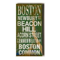 Home Decorators Collection - Boston Transit Sign Wall Plaque - Boston is one of the oldest cities in the United States. This Boston Transit Sign Wall Plaque with it's distressed look, adds to the traditional and historical feel of this New England city. From Boston Common to Newbury Street, this plaque will look great in place in your home. Made from the highest quality wood, this wood sign is hand distressed to give it a vintage appeal. Ready to put on your wall with a saw tooth hanger. Archival quality ink to last a lifetime. Available in green.