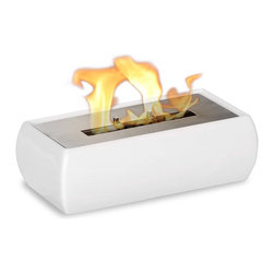 """Ignis - Lia White Tabletop Ventless Ethanol Fireplace - The Lia White Tabletop Ceramic Ventless Ethanol Fireplace is proof positive that beautiful things do come in small packages. This compact tabletop fireplace is a ventless model that you can use in any room without the need to install a chimney, so you can enjoy the ambiance and warmth of a fireplace without the hassle. This unique open-flame design is the smallest fireplace on the market and can be used inside or outside on the patio or deck to provide warmth and create an inviting atmosphere. It holds 1.5 liters of bio ethanol fuel and burns up to five hours between refills. Dimensions: 12.5"""" x 6.25"""" x 4"""". Features: Tabletop, Freestanding - can be placed anywhere in your home (indoors & outdoors). Ventless - no chimney, no gas or electric lines required. Easy or no maintenance required. Capacity: 1.5 Liter. Approximate burn time - 5 hours per refill. Approximate BTU output - 6000."""