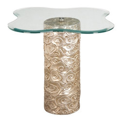 Bailey Street - Mini Flora Contemporary Pedestal End Table w Freeform Top Glass - Decorator delight. Sophisticated piece. Sculpted cylinder hollow base casted in resin. Hand rubbed to show detail. Washed to add hint of gold to the finish. 1 in. beveled glass top . 22.75 in. Diameter x 23 in. H. Base width:8.25 in.