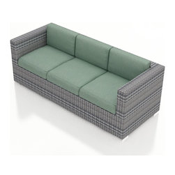 Harmonia Living - Urbana Modern Wicker Sofa, Weathered Stone Wicker, Spa Cushions - The Harmonia Living Urbana Outdoor Wicker Modern Sofa with Turquoise Sunbrella cushions (SKU HL-URBNWS-S-SP) features clean lines, premium synthetic wicker and brushed aluminum feet, giving it a fantastic modern look. Unlike outdoor rattan sofa sets, the High-Density Polyethylene (HDPE) wicker in this one is infused with a Weathered Stone color and UV treatment, creating long-lasting color that is fade resistant and cannot be stripped off. Underneath the outdoor wicker is a sturdy, thick-gauged aluminum frame that is powder coated, making it incredibly corrosion resistant. The seats are reinforced to prevent excessive wicker stretching, ensuring you and your guests can sit securely each time. This modern outdoor sofa includes seat and back cushions covered in fade- and mildew-resistant Sunbrella fabric.