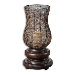 Uttermost - Rickma, Candleholder - This statuesque candleholder features a heavily distressed, chestnut brown base with a woven metal globe finished in antiqued gold leaf. Distressed beige candle included.