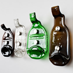 """99 Bottles Coat Hook - Sing it with me now! """"Ninety-nine bottles of root beer on the wall. Ninety-nine bottles of root beer..."""" What can I say? I don't drink. Plus, these recycled bottles will actually stay on the wall. They are available in your choice of clear, green or brown glass."""