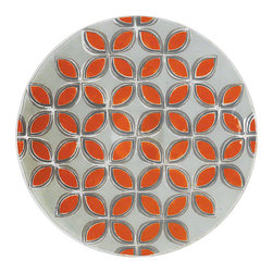 """Global Views - Solitaire Charger - Mandarin - This piece is made by artisans in Portugal using a fused glass technique popular in the mid twentieth century. The decorative design is made of hand applied color ground glass that is baked and fused to a clear glass base. This unique and rare technique provides decoration that is permanent and resilient, so they are washable and suitable for everyday use. The pattern on this beautiful charger is representative of overlapping petals or of diamonds, hence """"Solitaire""""."""