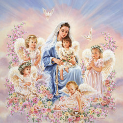 Murals Your Way - Gift Of Love Wall Art - Surrounded by flowers and heavenly light, five little angels sit with the Holy Mother in this wall mural.