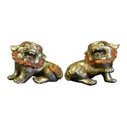 """Golden Lotus - Chinese Silver Rose Color Couching Foo Dog Fengshui Figures - Dimensions:  5"""" x 4"""" x h3.5"""" each"""