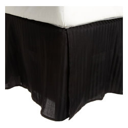 "300 Thread Count Egyptian Cotton Twin Black Stripe Bed Skirt - Our 300 Thread Count Bed Skirts add an updated look that brightens any bedding ensemble. They are composed of premium, long-staple cotton and have a ""Sateen"" finish as they are woven to display a lustrous sheen that resembles satin. One Bed Skirt 38x75."