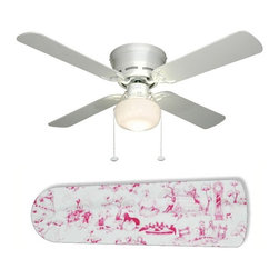 "Pink Toile Nursery Girls 42"" Ceiling Fan and Lamp - 42-inch 4-blade ceiling fan with a dome lamp kit that comes with custom blades. It has a white flushmount fan base. It has an energy efficient 3-speed reversible airflow motor for year long comfort. It comes with complete installation/assembly instructions. The blades can be cleaned with a damp cloth. It is made with eco-friendly/non-toxic products. This is brand new and shipped in the original box. This is not a licensed product, but is made with fully licensed products. Note: Fan comes with custom blades only."