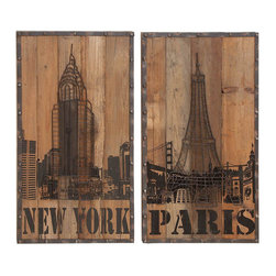 Benzara - Wood Wall Art To Share Your Countryman Spirit - 51658 Wood Wall Art 2 ASST is an excellent anytime low priced wall decor upgrade option that is high in modern age decor fashion. Bring this wood wall art 2 assistant home to share your countryman spirit with family and friends.