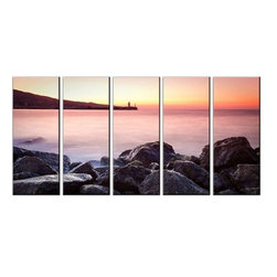Vibrant Canvas Prints - Canvas Prints, Framed Huge Canvas Print 5 Panel Sea Beach Painting Wall Picture - QUALITY CANVAS PRINT FRAMED AND READY TO HANG