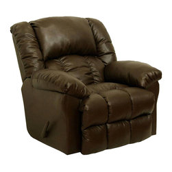 Catnapper - Catnapper Winchester Bonded Leather Chaise Rocker Recliner in Tobacco - Catnapper - Recliners - 44232120829300829 - Let the Winchester Chaise Rocker Recliner by Catnapper become the best seat in the house. Designed for optimal comfort with its extra wide chaise pad seating this chair is made of top quality durable bonded leather. Available in three exciting leather colors such as tobacco tanner and saddle it will be a perfect addition to any living room office or den. Rest up your body and relax completely with this great chaise rocker recliner!