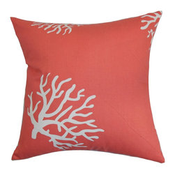 """The Pillow Collection - Jessamine Coral Pillow Coral White - This throw pillow brings a fun and vibrant twist to your interior with its unique detail. Adorned with a white-colored floral pattern and set against a coral pink background, this square pillow will liven up your space. This accent pillow looks great on its own, and it also melds with other patterns. The 18"""" pillow is American-made and uses 100% high-quality cotton fabric. Hidden zipper closure for easy cover removal.  Knife edge finish on all four sides.  Reversible pillow with the same fabric on the back side.  Spot cleaning suggested."""