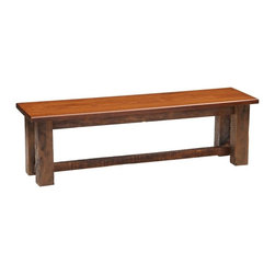 Fireside Lodge Furniture - Barnwood Bench in Antique Oak Finish (48 in.) - Choose Size: 48 in.Barnwood Collection. Built with authentic reclaimed Red Oak planks from 1800's tobacco barns. Black Walnut splines on the seams of each of the Oak planks to help prevent warping and demonstrate our old fashioned craftsmanship and attention to detail. Individually hand crafted. Clear coat catalyzed lacquer finish for extra durability. 2-Year limited warranty. 36 in. W x 15 in. D x 18 in. H (40 lbs.). 42 in. W x 15 in. D x 18 in. H (45 lbs.). 48 in. W x 15 in. D x 18 in. H (50 lbs.). 60 in. W x 15 in. D x 18 in. H (55 lbs.). 72 in. W x 15 in. D x 18 in. H (60 lbs.)