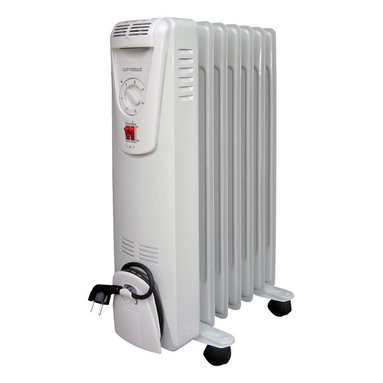 Optimus - 3-Heat Portable Oil-Filled Radiator - You'll stay warm and toasty all winter long with this portable, oil-filled heater. Choose between 600, 900 and 1500-watt output and adjust temperatures with the thermostat. It's a safe and energy-efficient heating option for any indoor space.