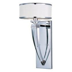 Maxim Lighting 39828BCWTPC Metro 1-Light Wall Sconce In Polished Chrome With Bev -